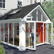 conservatory with lightweight tiled roof