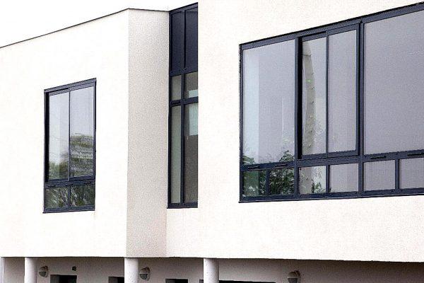 black window and doors