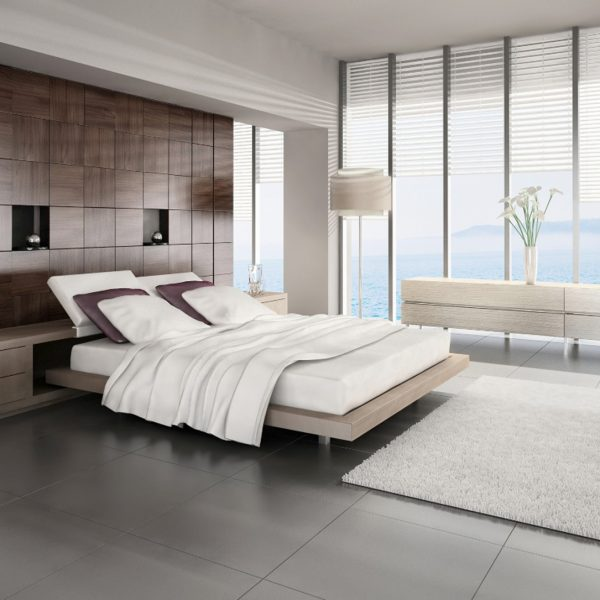 bedroom with tall white window