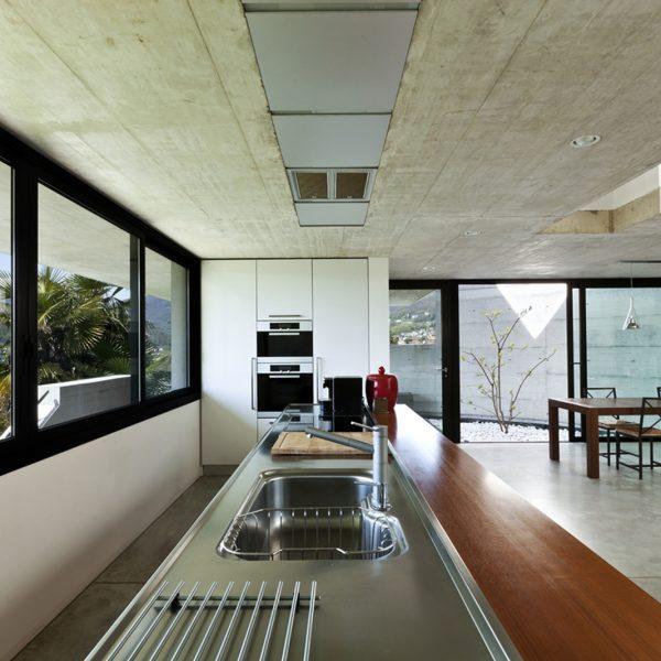 large kitchen with with aluminium sliding doors