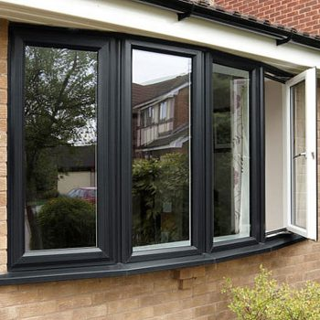 Triple glazed grey aluminium windows