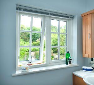 open Tilt upvc Window in a bathroom