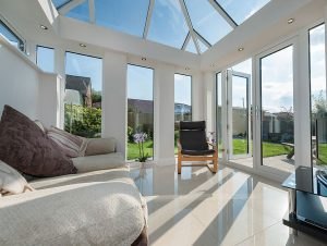 inside a large glass conservatory