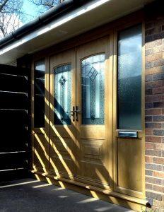 light oak double rockdoors with side panels