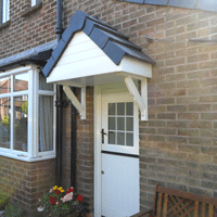 door canopy with lightweight grey tiles