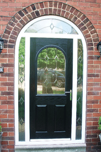 patterned glass black composite arched door