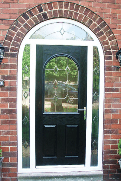 patterned glass black composite arched door