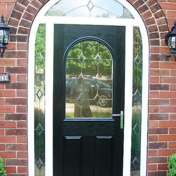 black arched door
