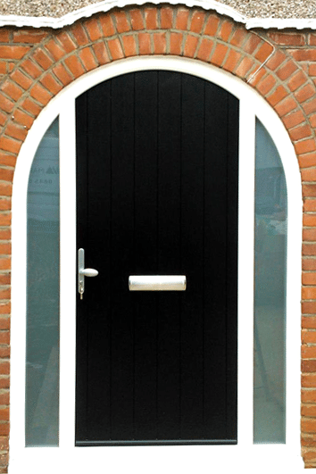 black arched composite door with glass side panels