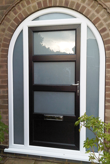 arched black composite door with 3 glass panels