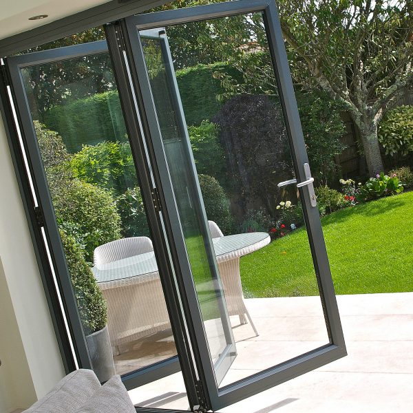angled open grey bi folding doors