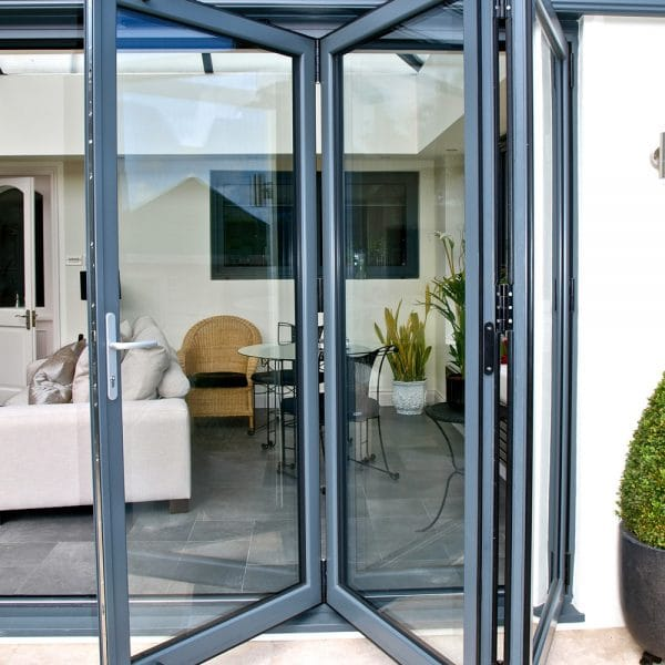 bi-folding doors opening onto a new extension