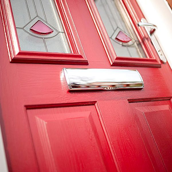 poppy red composite door angled