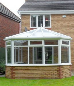 Conservatory traditional style with white upvc windows
