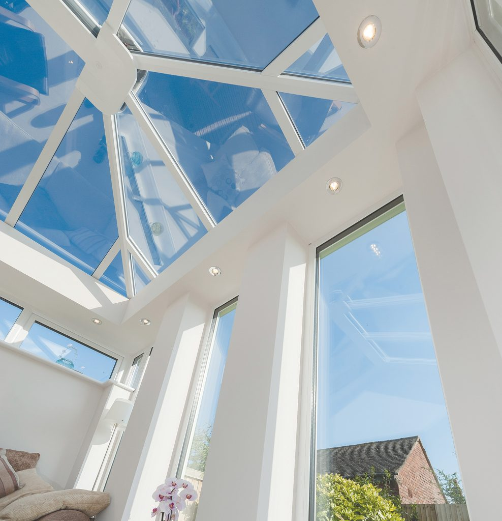 sky view from inside a double glazed conservatory