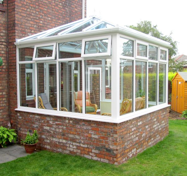 Glass Extension with half brick base