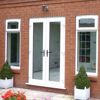 french doors with two side upvc windows