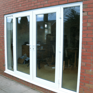 large white upvc french doors