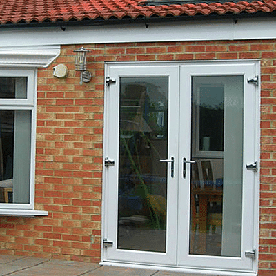 double upvc french doors in white