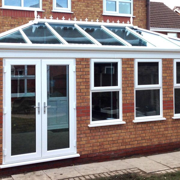 glass roof orangery uPVC patio doors