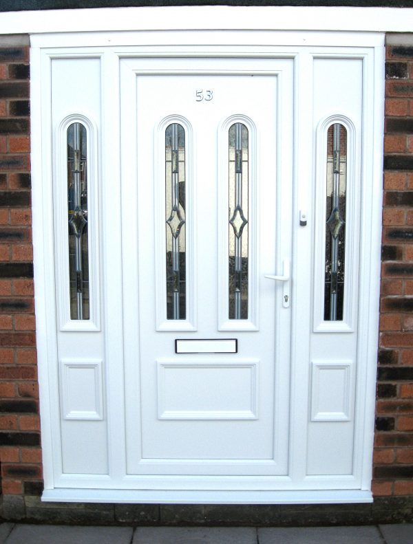 White upvc plastic doors with two upvs side panels