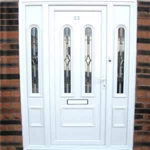White upvc door with white side panels