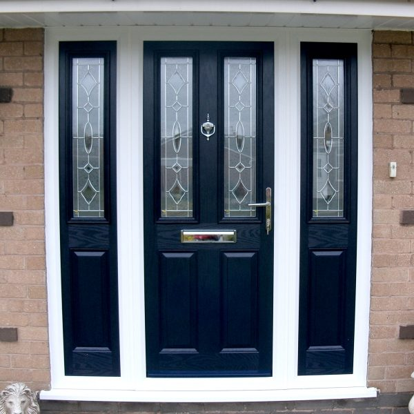 Black composite door with side panels and white upvc frame