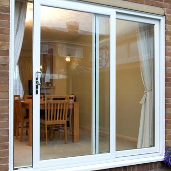 White upvc patio doors half open