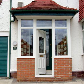 Square white porch with upvc door