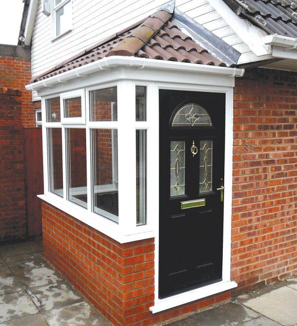 Side porch white upvc porch with black composite door