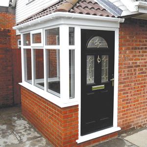 uPVC porches a white upvc porch with black composite door