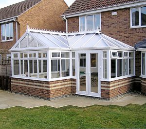 large p-shaped conservatory