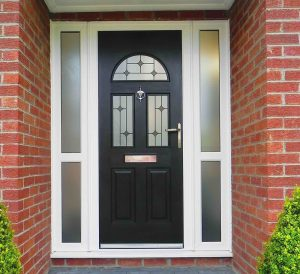 two window black Composite Door with white upvc frame and side panels