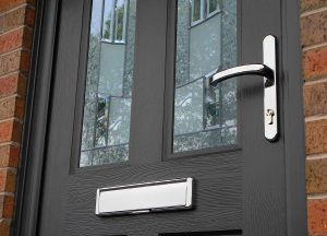 black rockdoor with silver handle & letterbox