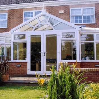 T Shaped Conservatory With White uPVC double glazing
