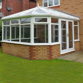 White Victorian Conservatory with polycarb roof