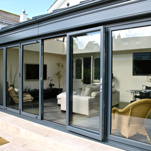 bifolding doors in grey aluminium