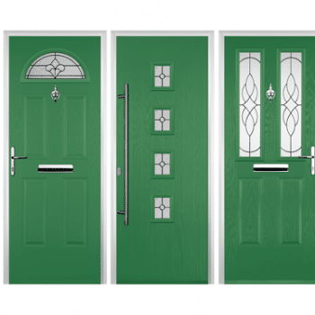 green coloured composite doors