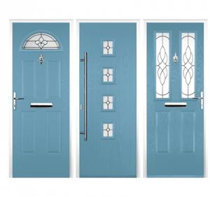 light blue coloured composite doors