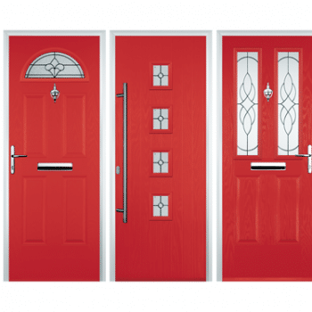 red coloured composite doors