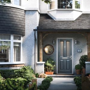 solidcore 1930s style composite door in grey