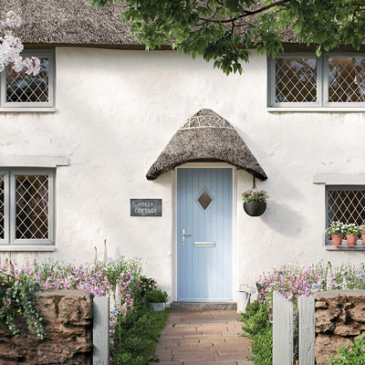 light blue solidcore door on a cottage