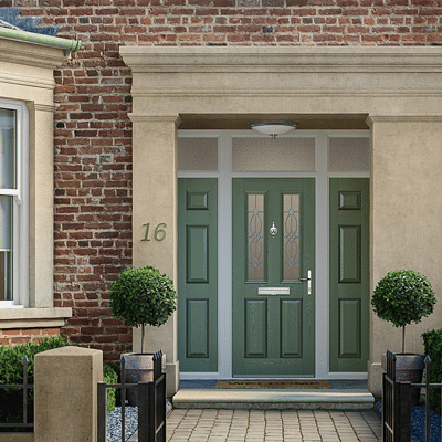 composite solidcore door in chartwell green with side panels