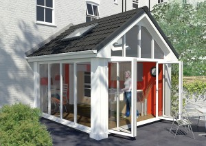 Lightweight tiled roofed conservatory sunroom style