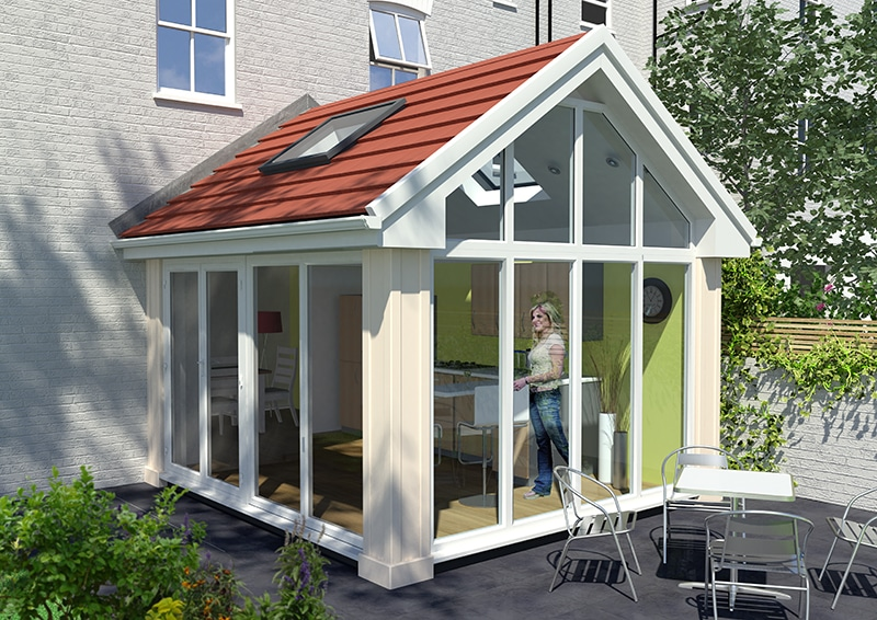 Lightweight tiled roofed conservatory red tiles