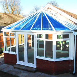 victorian conservatory with blue glass roof