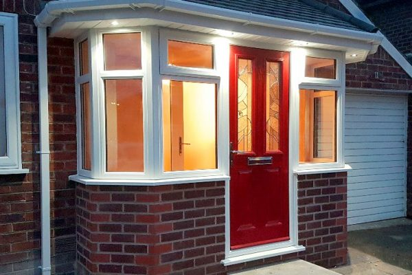 night light porch with poppy red composite door