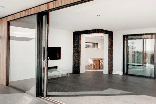 Bifolding doors leading to open plan room