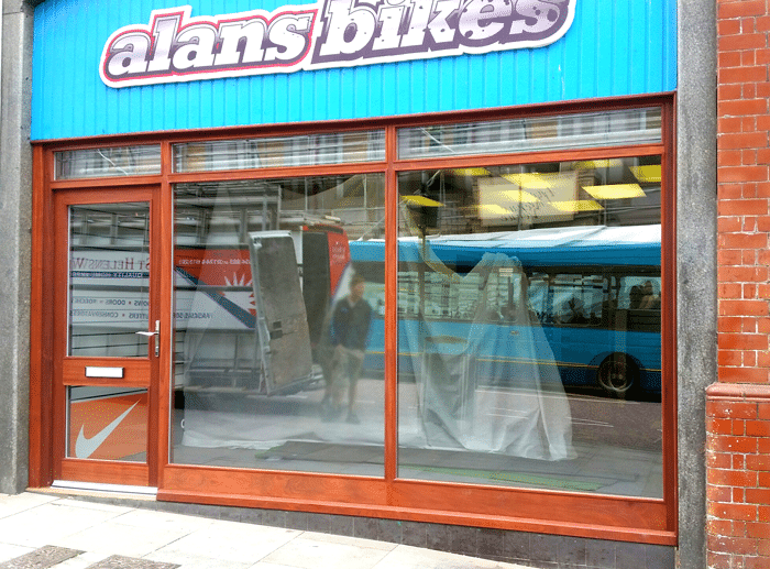 Front of shop Alans bikes Wigan