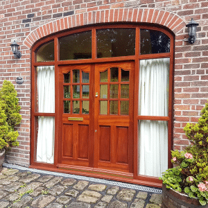 Timber made double glazed patio wood doors